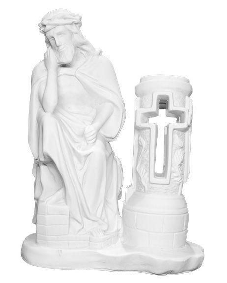 Jezus Frasobliwy przy zniczu - rzezba nagrobna