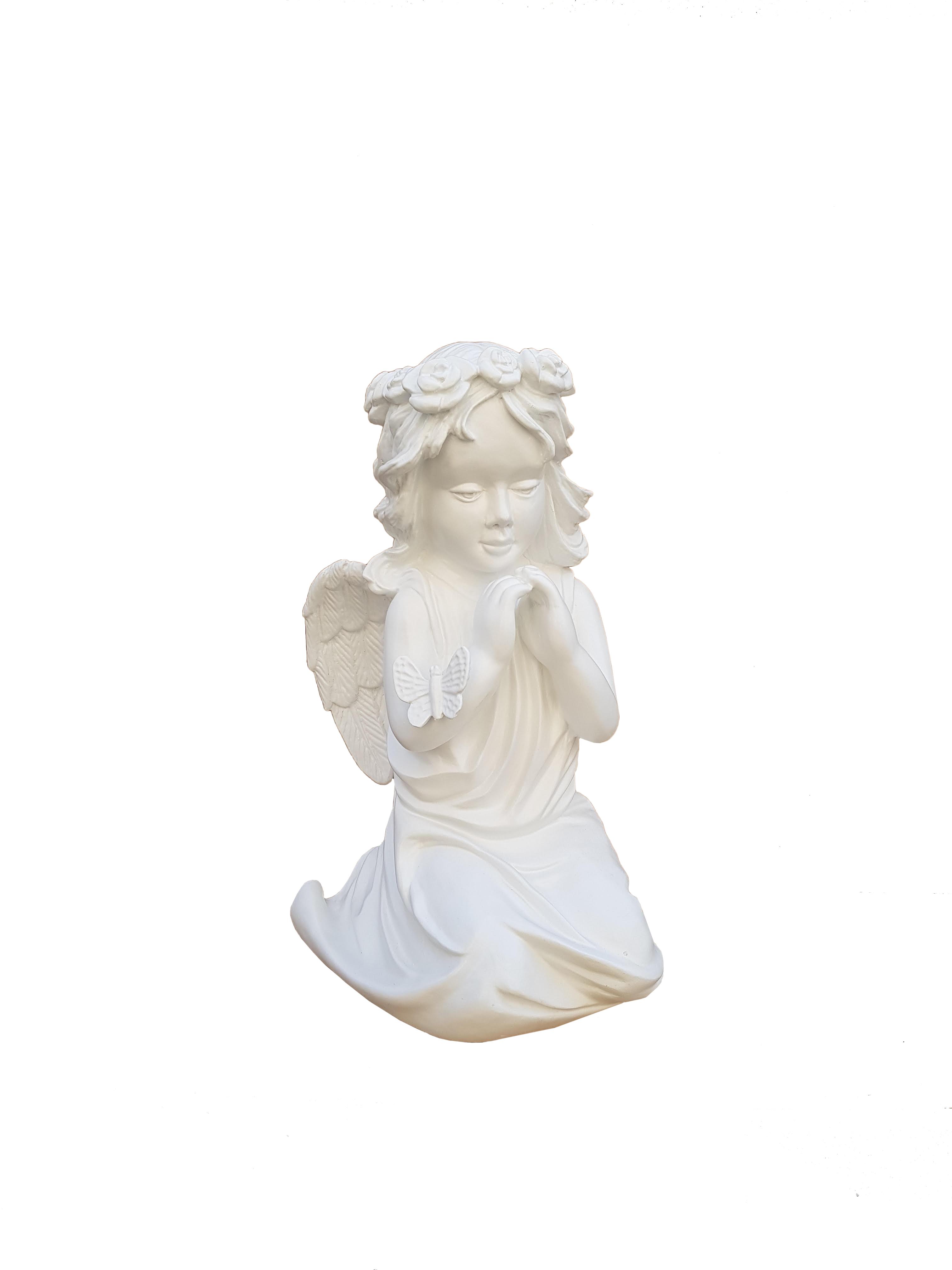 Kleczacy Aniolek z motylkiem - Figura nagrobna