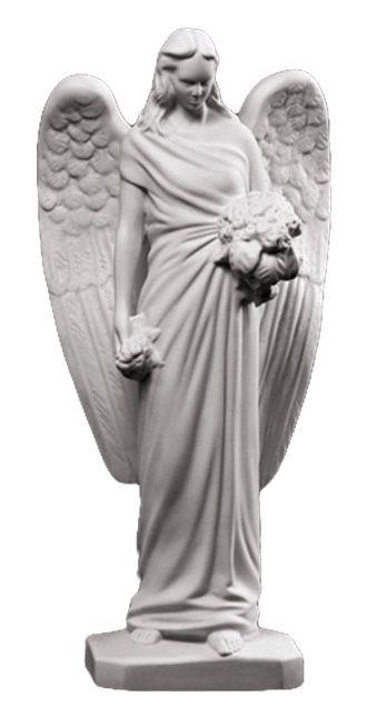 Piekny aniol w zadumie - rzezba nagrobna
