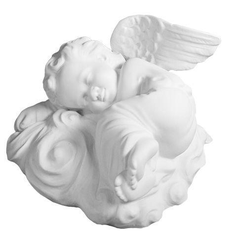 Aniolek spiacy na chmurze - rzezba nagrobna
